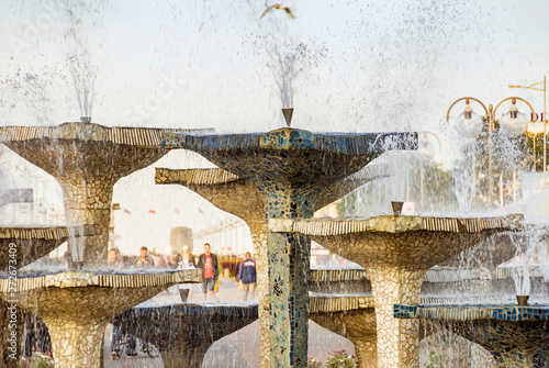 plakat Famous fountain in Gdynia