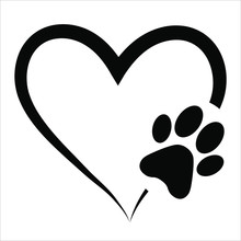 Animal Love Symbol Paw Print With Heart, Isolated Vector