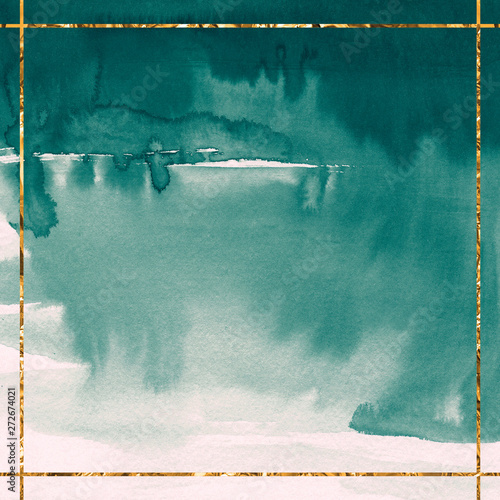 Fotografie, Obraz Emerald watercolor background with gold frame Card template Green paint stain te