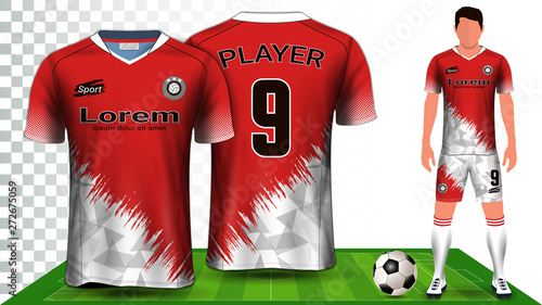Obraz na plátně Soccer Jersey, Sport Shirt or Football Kit Uniform Presentation Mockup Template, Front and Back View Including Shorts and Socks and it is Fully Customization Isolated on Transparent Background