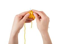 Women's Hand Knit Handmade Yellow Wool Yarn Isolated On White Background