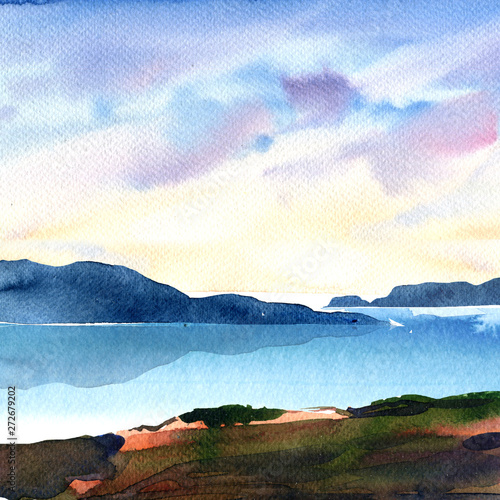 Foto auf Leinwand Pool Beautiful natural landscape with ocean, mountains, sky with colorful clouds, artistic wallpaper, beautiful view, relax, vacation, travel concept, hand drawn watercolor illustration, nature background