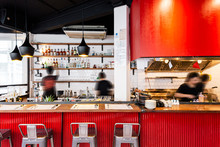 Industrial Red Kitchen Counter...