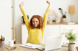 canvas print picture - Creative Designer Stretching In Front Of Laptop Computer