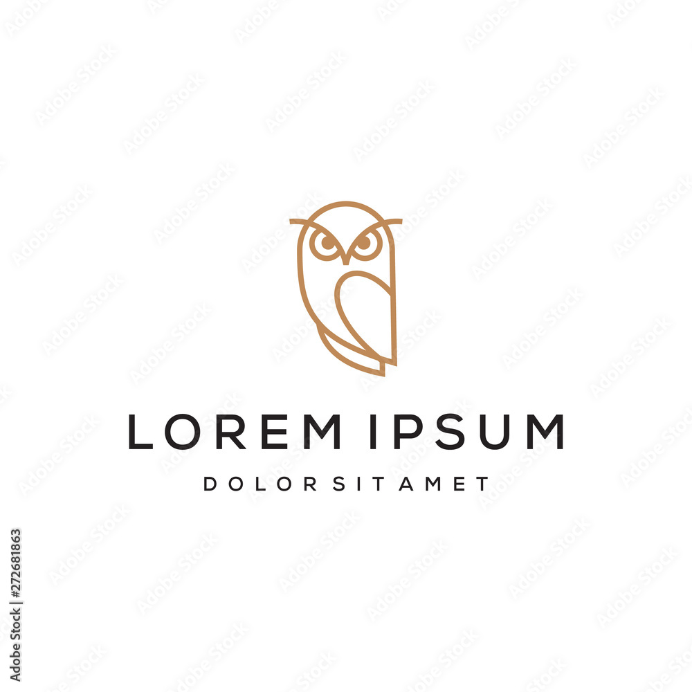Fototapety, obrazy: simple line owl vector logo design template