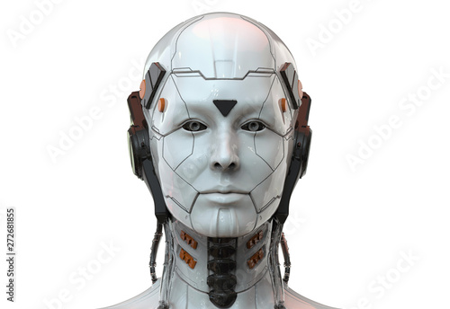 Photo Robot woman, sci-fi android female  artificial intelligence 3d render