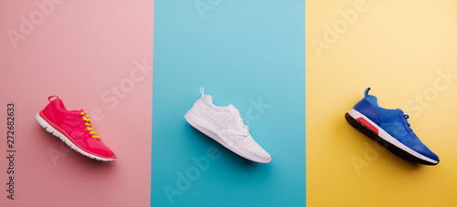 A studio shot of running shoes on bright color background Canvas Print