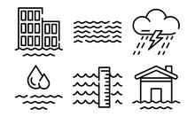 Flood Icons Set. Outline Set Of Flood Vector Icons For Web Design Isolated On White Background