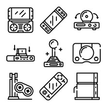 Console Icons Set. Outline Set Of Console Vector Icons For Web Design Isolated On White Background