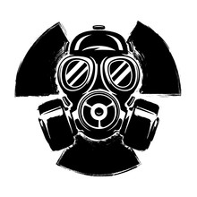 Sign Of Radioactivity With Gas Mask: The Concept Of Pollution And Danger. Gas Mask Grunge Vector Illustration. Radioactive Sign. Radioactive Hazard.