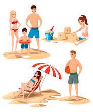 Set Of People On The Beach. Pe...