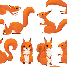 Seamless Pattern Of Cute Cartoon Squirrel. Funny Little Brown Squirrel Collection. Emotion Little Animal. Cartoon Animal Character Design. Flat Vector Illustration On White Background
