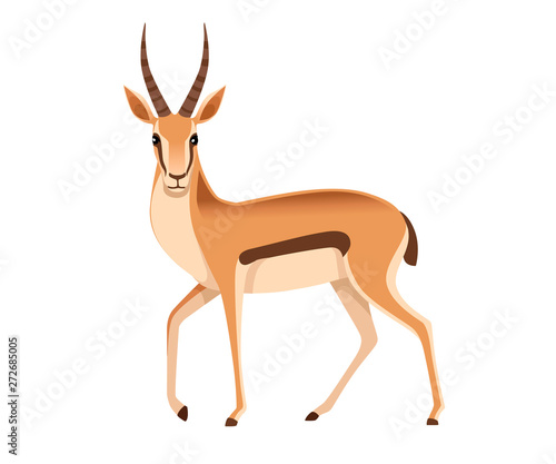 Photo African wild black-tailed gazelle with long horns cartoon animal design flat vec