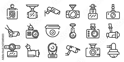 DVR camera icons set Canvas