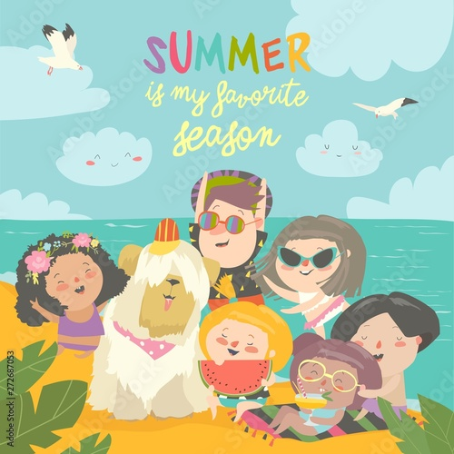 Summer travel. Happy kids traveling summer in exotic place and relax at sea