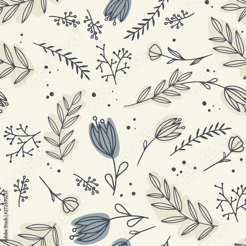 Fototapeta Vector seamless pattern with different   flowers