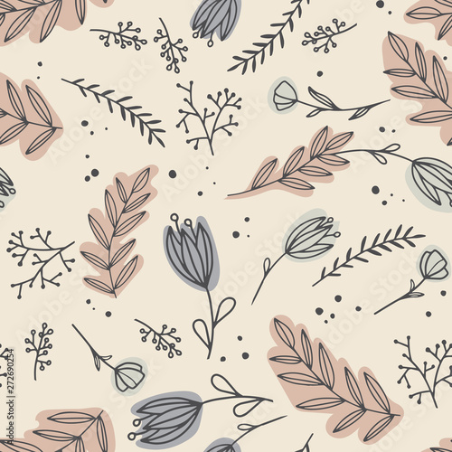 Obraz na plátně Seamless pattern with creative decorative flowers in paster colors