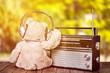 Leinwandbild Motiv Teddy bear in headphones and radio
