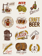 Bottle Of Beer In Hand With The Inscription Cheers Toast. Rye And Wheat. Set Of Vintage Labels And Badges For Poster. Hand Drawn Engraved Sketch For Pub Menu.