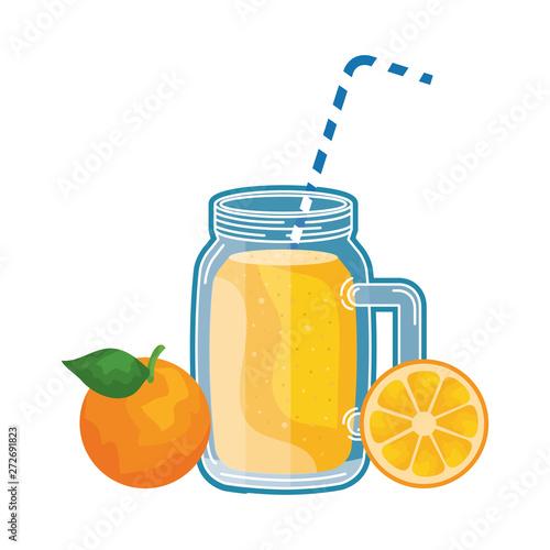 Photo sur Toile Les Textures juice orange fruit beverage jar with straw