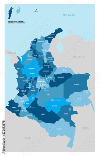 Fotomural Colombia political map