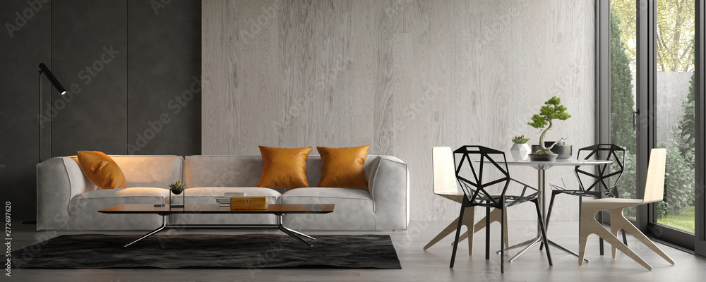 Fototapeta Interior of modern living room with sofa 3D rendering