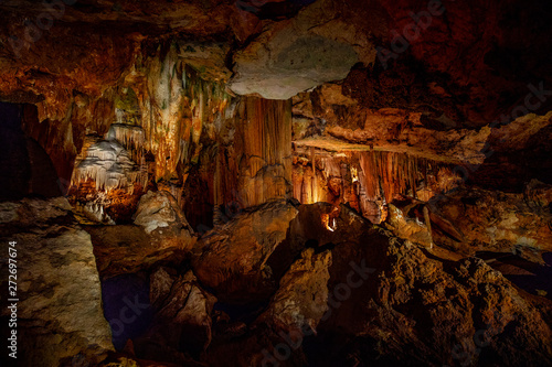 Cave stalactites, stalagmites, and other formations at Luray Caverns. VA. USA.