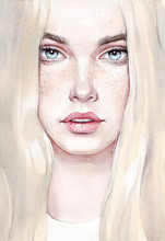 Watercolor Young Woman. Hand Drawn Portrait Of Beauty Girl. Painting Fashion Illustration