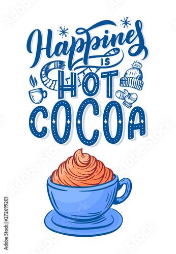 Pinturas sobre lienzo  Hot cocoa hand lettering composition