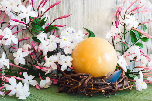 Yellow Sphere in Spring with Jasmine Flowers