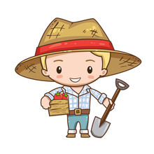 Vector Illustration Of Cute Chibi Character Isolated On White Background. The Farmer Holds A Shovel And A Box Of Vegetables. Farmer In Jeans, Shirt And Straw Hat With Red Ribbon.