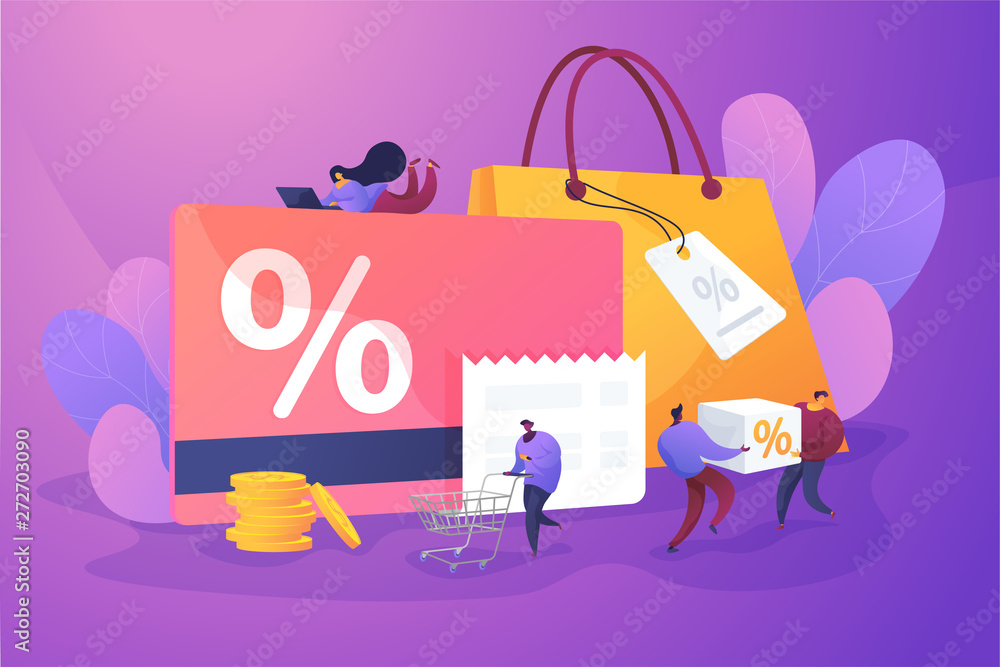 Fototapeta Discount and loyalty card, loyalty program and customer service, rewards card points concept. Vector isolated concept illustration with tiny people and floral elements. Hero image for website.