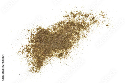 Fotomural  Ground black pepper isolated on white background, top view.