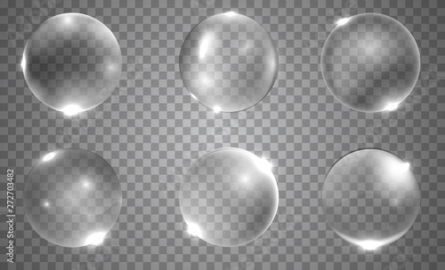 Pinturas sobre lienzo  Set of realistic 3d glass ball or sphere isolated on transparent background