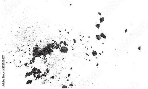 Obraz na plátně Black coal dust with fragments isolated on white background, top view