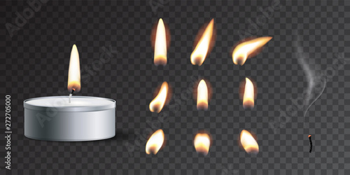 Leinwand Poster Vector realistic tea candle with fire and candle fire set isolated on transparent background