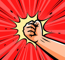 Punch, Raised Up Clenched Fist In Retro Pop Art. Comic Style Vector Illustration