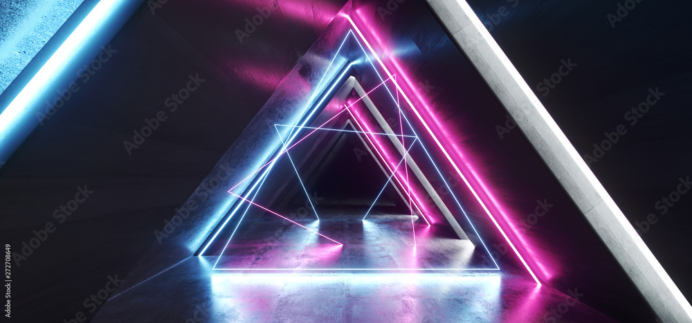Fototapeta Future Neon Lights Laser Glowing Purple Blue Pink Triangle Shaped Sci Fi Futuristic  Tunnel Corridor Garage Hallway Alien Spaceship Empty 3D Rendering