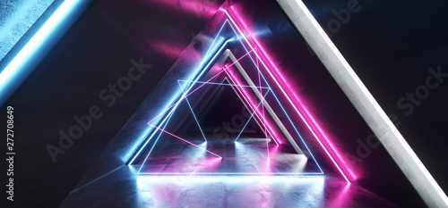 Future Neon Lights Laser Glowing Purple Blue Pink Triangle Shaped Sci Fi Futuris Fototapet