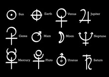 Alchemical Symbols Icons Set Alchemy Elements Pictogram. Sun, Earth And Planets Symbols, Astrological Wicca Symbols. Hand Drawn Vector Set Planet Wiccan Icon Isolated On Black Background