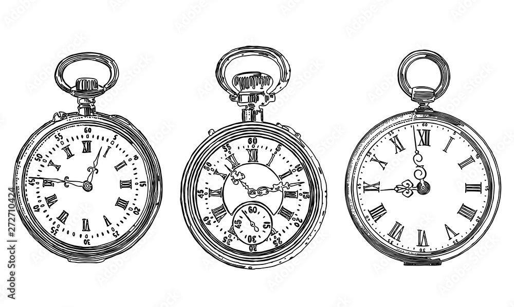 Fototapety, obrazy: A set of different drawn old pocket watches