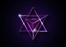 Sacred Geometry. 3D Neon Merkaba Thin Line Geometric Triangle Shape. Esoteric Or Spiritual Symbol. Isolated On Dark Red Background. Star Tetrahedron Icon. Light Spirit Body, Wicca Esoteric Divination