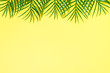 canvas print picture Palm leaves on yellow top view.