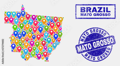 Fotografija  Vector colorful mosaic Mato Grosso State map and grunge seals