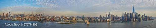 Poster New York Ultra wide panorama of Manhattan skyline showing downtown financial district and midtown up to central park