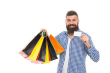 Hes Got A Loyalty Card. Bearded Man Smiling With Discount Card And Paperbags Isolated On White. Happy Businessman Showing Blank Card For Business Information. Paying With Credit Card, Copy Space