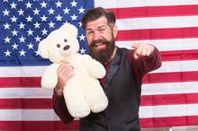 American Holiday. Man Bearded ...