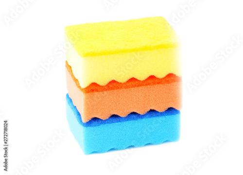 Kitchen sponge on white Canvas Print