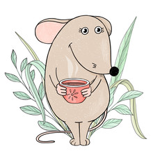 Cute Mouse Holding A Hot Cup Of Tea And Smiling.