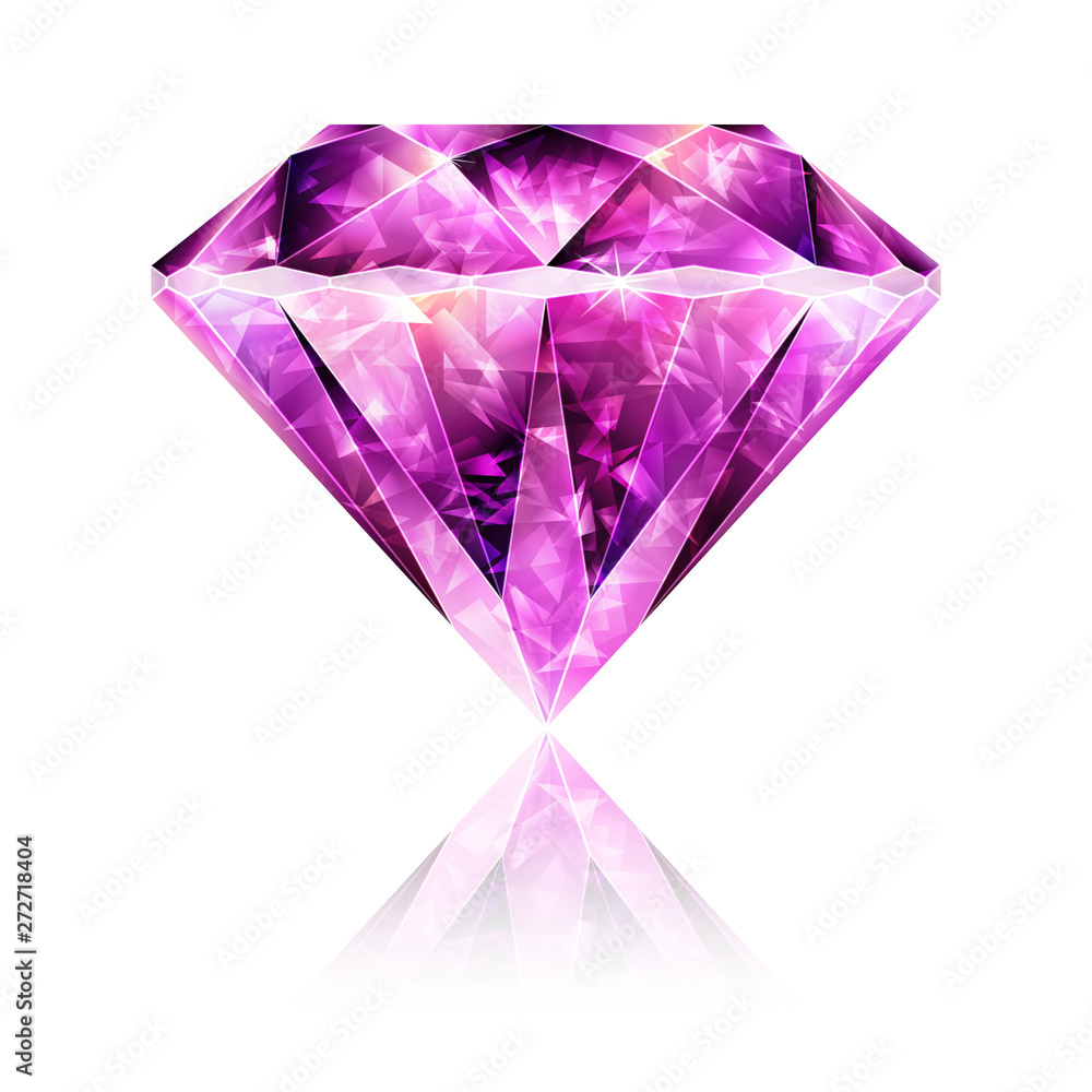 Fototapeta Bright Glossy Pink Gemstone Ruby